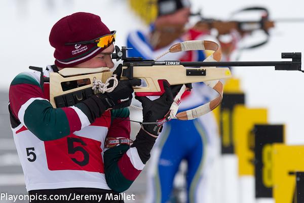 NB biathlon athlete making his shots at Martok of Canada Games 2011
